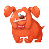 Funny, cute, crazy cartoon dog.