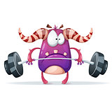 Sport monster characters. Barbell illustration.