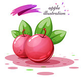 Apple leaf and juice - cartoon illustration.