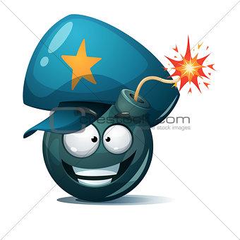 Cartoon bomb, fuse, wick, spark icon. Police smiley.