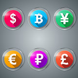 Dollar, Bitcoin, Yen, Euro, Ruble, Pound icon.