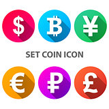 Dollar, Bitcoin, Yen, Euro Ruble Pound icon