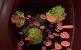 Virus in blood flow 3d illustration