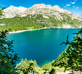 Mountains and lake in summer season