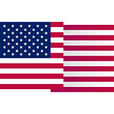 USA big waving flag on white background, vector illustration. American national design element. Undependence day of united states of America, july fourth logo.