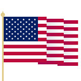 American flag, waving USA flag with sharp corners. Simple isolated vector illustration. National symbol of United States of America on white background.