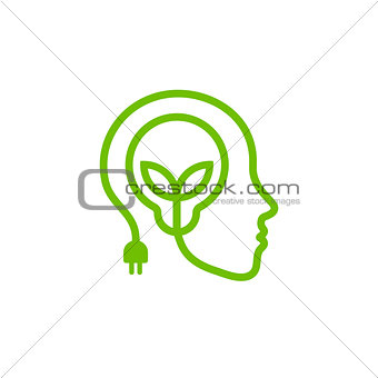 Head with lamp and leaves, green linear logo. Renewable energy symbol.