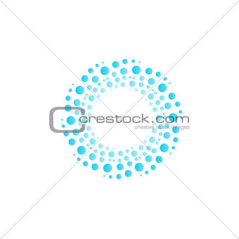 Water vortex from blue circles, bubbles, drops. Abstract circle vector logo.