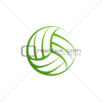 Volleyball logo element, vector volley ball icon, isolated sport sign template. Summer beach valleyball, vector illustration on white background.