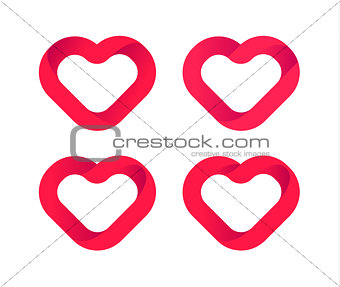 Red hearts, love vector icons set. Wedding logo template, heart design element. Valentine day symbol. Abstract outline isolated hearts, logo on white background.