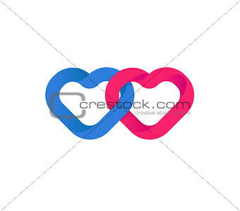 Hearts union, Unification of Hearts. Loving red and blue hearts. Love symbol and happiness of a couple in love. Wedding logo.