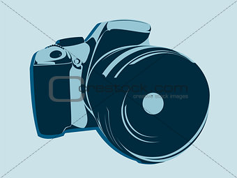 SLR camera, logo in blue tones on a light background