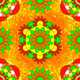Onam. Hindu festival. Kerala in India. 4 September. Flower traditional carpet pookalam. Seamless Pattern