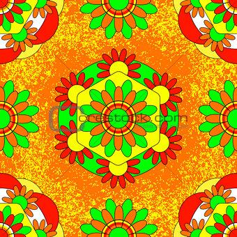 Onam. Hindu festival. Kerala in India. 4 September. Flower traditional carpet pookalam. Seamless Pattern