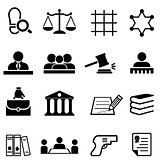 Justice, law, legal and lawyer icon set