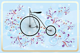 Retro bicycle with colorful swirls on blue waves and bubbles bac