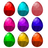 Set of Colorful Polygonal Easter Eggs