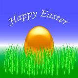 Spring Easter Card. Gold  Egg