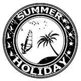 Summer holiday rubber stamp with palm tree and surfer silhouette