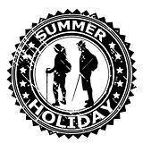 Summer Holiday rubber stamp with tourists silhouettes