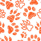 Seamless pattern with animal footprints, pet paw stamps on white background, hatched animal steps, trials and traces, vector illustration