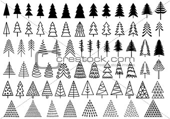 72 Christmas trees, vector set