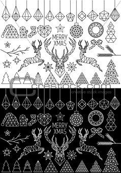 Geometric Christmas, vector set