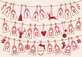 Advent calendar with Christmas bags, vector set