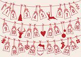 Advent calendar with Christmas bags, vector set