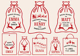Christmas bags and tags, vector set