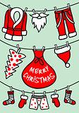 Santa Claus clothesline, vector Christmas card