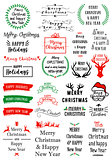 Christmas text overlays, vector set