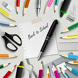 Back to school with design aids on background