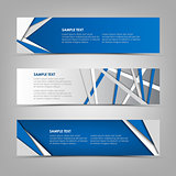 Collection abstract horizontal banners with blue triangles and stripes design