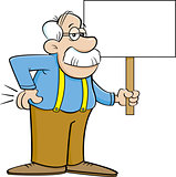 Cartoon old man holding a sign.