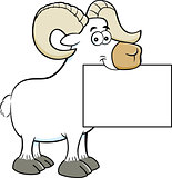 Cartoon ram holding a sign.
