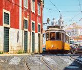 Lisbon, Portugal. Vintage yellow retro tram