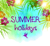 Summer floral vector tropical watercolor background