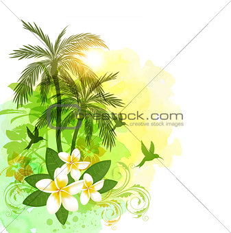Tropical watercolor background with green palms