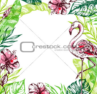 Summer tropical background with flamingo