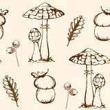 Seamless pattern with mushrooms and leaves