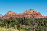 View of Twin Buttes with Chapel of the Holy Cross from Red Rock Scenic Byway in Sedona, Arizona