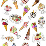 Seamless pattern with various icecreams in cones, plates and bow