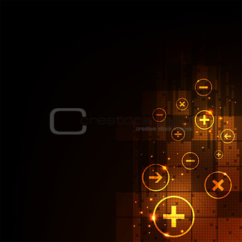 Digital computation on a dark orange background.