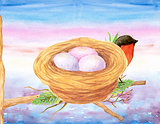 Bird and Nest Watercolor Wall Art Poster