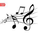 Abstract music notes on line wave background. Black G-clef and music notes isolated vector illustration Can be adapt to Brochure, Annual Report, Magazine, Poster, Corporate Presentation.