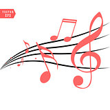 Red Musical notes in flowing design of elements in realistic style, vector illustration