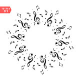 Music score note. Decoration of musical notes in the shape of a circle eps 10