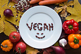 White empty plate and vegetarian vegan diet food top view