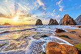 Portugal Ursa Beach sunset at Atlantic ocean